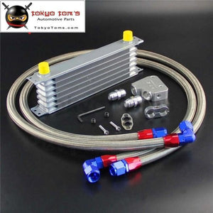 7 Row Engine Oil Cooler+ Female Sandwich Plate Kit For Ls1 Ls2 Ls3 Lsx Ve Hsv