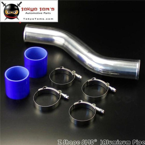 70Mm 2.75 Inch 40 Degree Z / S Shape Aluminum Intercooler Pipe Piping Tube Hose + Silicone W/