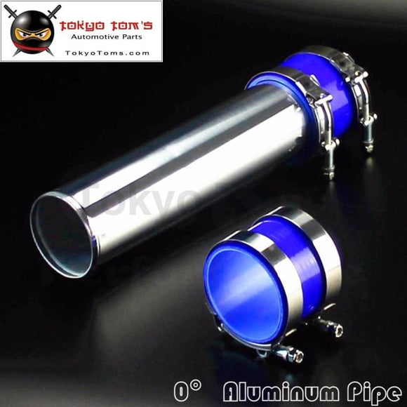 76Mm 3 Aluminum Turbo Intercooler Pipe Piping Tubing + Silicon Hose T Bolt Clamps Kits Blue