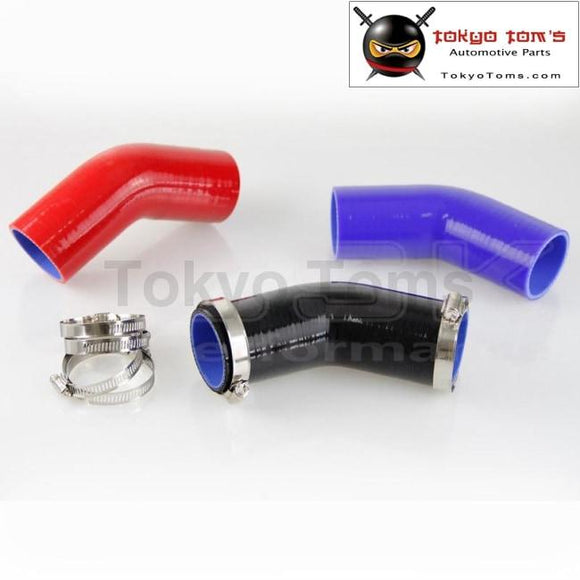 76Mm Racing Silicone Hose 45 Degree Elbow Coupler Intercooler Turbo Hose+Clamps