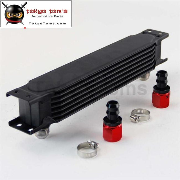 7Row An10 Universal Aluminum Engine Transmission 248Mm Oil Cooler British Type W/ Fittings Kit Black