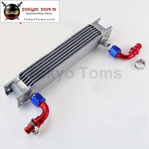 7Row An10 Universal Aluminum Engine Transmission 248Mm Oil Cooler British Type W/ Fittings Kit S