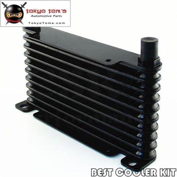 8-An 32Mm 10 Row Engine/transmission Racing Coated Aluminum Oil Cooler Black Oil Cooler