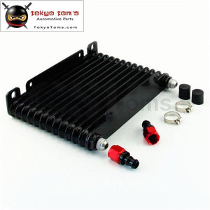 8-An 32Mm 10 Row Engine/transmission Racing Coated Aluminum Oil Cooler+Fitting Oil Cooler