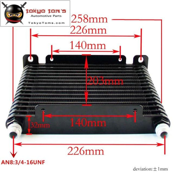 8-An 32Mm 15 Row Engine/transmission Racing Coated Aluminum Oil Cooler Black Oil Cooler