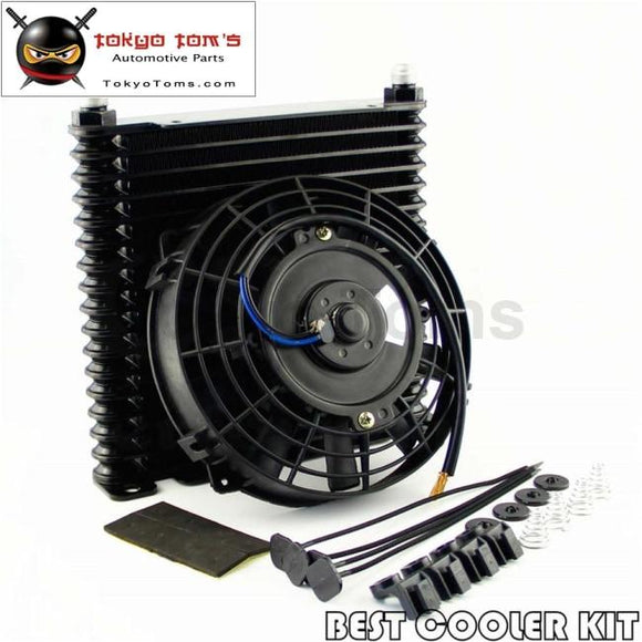 8-An 32Mm 17 Row Engine Racing Coated Aluminum Oil Cooler+7 Electric Fan Kit Oil Cooler