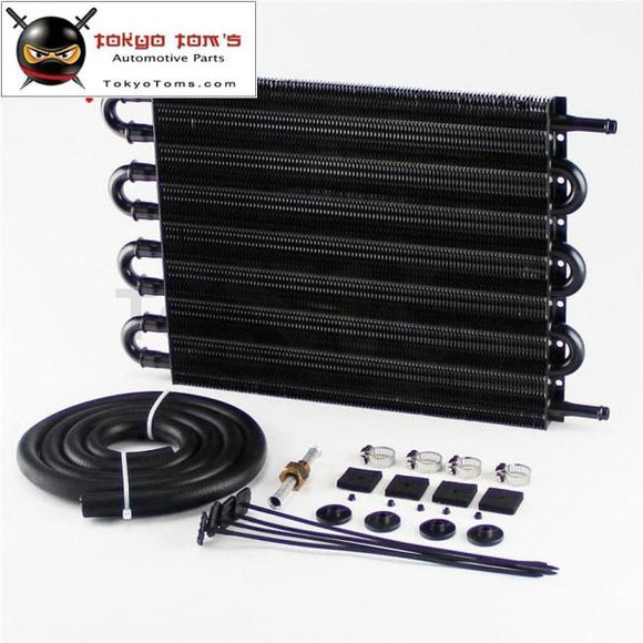 8 Row Remote Transmission Oil Cooler/auto-Manual Radiator Converter Aluminum Universal Silver/black