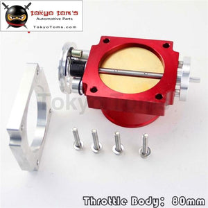 80Mm Universal Intake Manifold Cnc Billet Aluminum Throttle Body Red