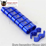 8Pcs An -4 4An 11Mm Braided Hose Separator Clamp Fitting Adapter Bracket Black / Blue