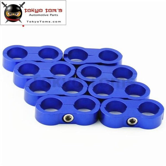 8Pcs An -8 An8 15.4Mm Braided Hose Separator Clamp Fitting Adapter Bracket Blue / Black