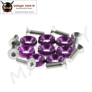 8Pcs M6 Wide Hex Screw Bolt Bumper Fender Washer Anodized Aluminum Purple