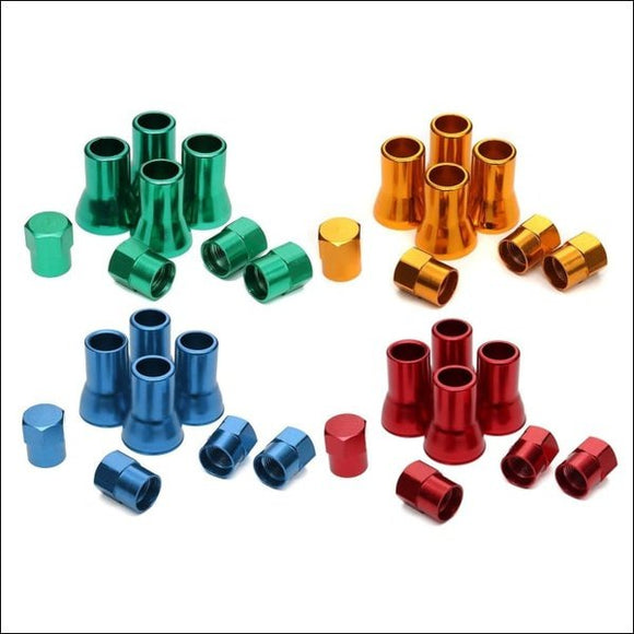 8Pcs Tr413 Aluminium Alloy Wheel Tyre Tire Cover Valve Stem Sleeves With Hex Caps Red Yellow Blue