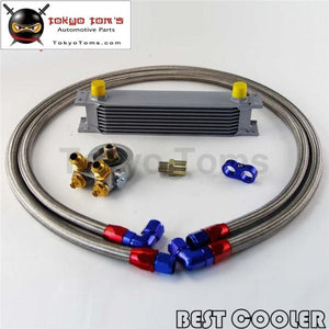 9 Row Engine Oil Cooler W/ Thermostat 80 Deg Filter Adapter Kit Silver / Black