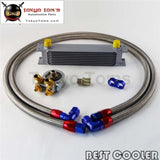 9 Row Engine Oil Cooler W/ Thermostat 80 Deg Oil Filter Adapter Kit  Silver / Black