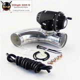 90 Degree 2.25 Aluminum Flange Pipe + Sqv Blow Off Valve Bov 4 Iv Kit Black / Silver 01Egh007Bbk