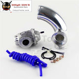 90 Degree 2.25 Aluminum Flange Pipe + Sqv Blow Off Valve Bov 4 Iv Kit Black / Silver