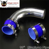 90 Degree 63Mm 2.5 Aluminum Turbo Intercooler Tube Pipe +Silicon Hose + T Bolt Clamps