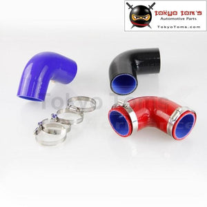 90 Degree Silicone Hose 57Mm Turbo Elbow Coupler Pipe 2.25 Inch +Clamps