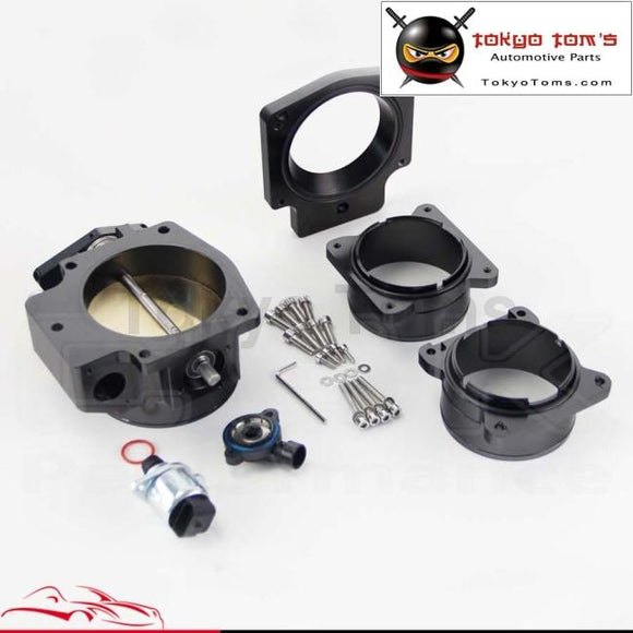 92Mm Throttle Body/ Tps+Manifold Plate+ Mass Air Flow Maf Ends For Chevy Ls1 Black / Silver