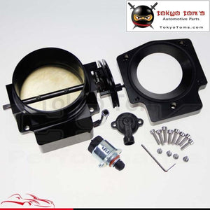 92Mm Throttle Body W/ Tps +Manifold Adapter Plate For Ls Ls2 Ls3 Ls6 Ls7 Lsx Black