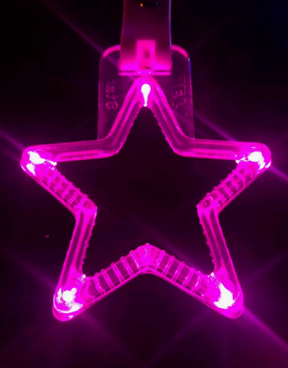 LED Hang Rings by Tokyo Toms - Pink Star