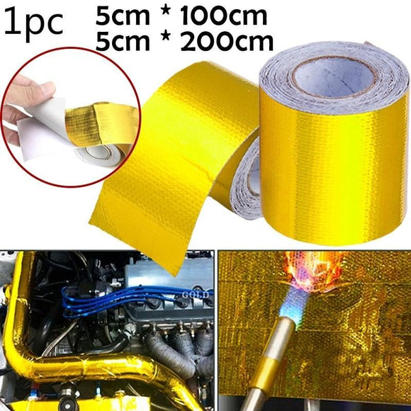 Gold Thermal Exhaust Tape Air Intake Heat Insulation Shield Wrap