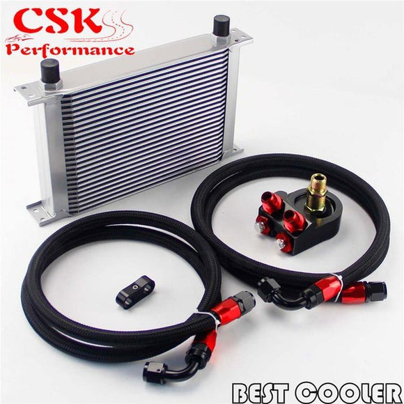 25 Row AN8 3/4-16UNF Oil cooler + 8AN Nylon/Steel hose Filter Adapter Kit