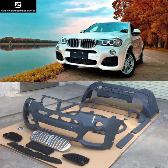 X4 F26 X4M style PP unpainted Auto Car front bumper rear bumper side skirts racing grills For BMW X4 car Body Kit 2014UP
