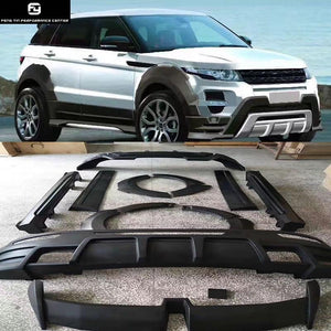 Wide Car body kit PU Unpainted front bumper Rear bumper side skirts Round eyebrows for Range Rover Evoque 14-17