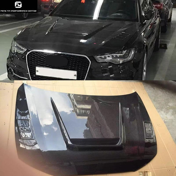 A6 C7 S6 RS6 Carbon fiber engine hood cover with holes Car body kit for Audi A6 C7 S6 RS6 12-16