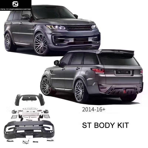 ST style Car body kit PP Unpainted front bumper rear bumper exhaust pipes for Range Rover Sport 14-17