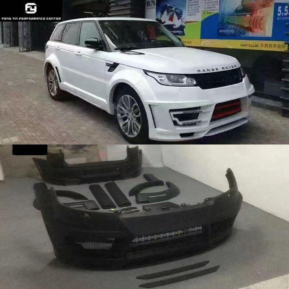 Wide body kit FRP Unpainted front bumper rear bumper side skirts Round eyebrows for Range Rover Sport 14-17