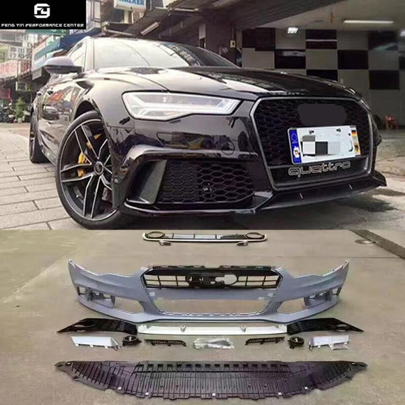 A6 RS6 style PP car body kit front bumper rear diffuser exhaust pipes for Audi A6 RS6 2013-2016