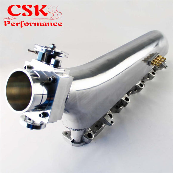 Upgrade Polished Air Intake Manifold +80mm Throttle Body For Nissan Prtrol 4.8L Machined  Blue / Silver