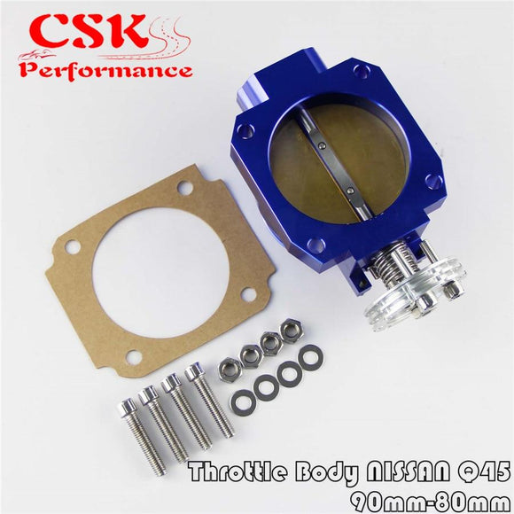 Universal Throttle Body Intake Q45 90MM - 80MM  FOR NISSAN RB25DET RB26DET RB20 GTS BLUE