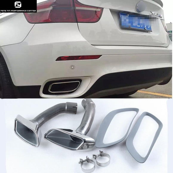 X6 E71 Stainless Steel Muffler Exhaust Pipes End Tips Exhaust tail throat For BMW X6 E71 car body kit 08-13
