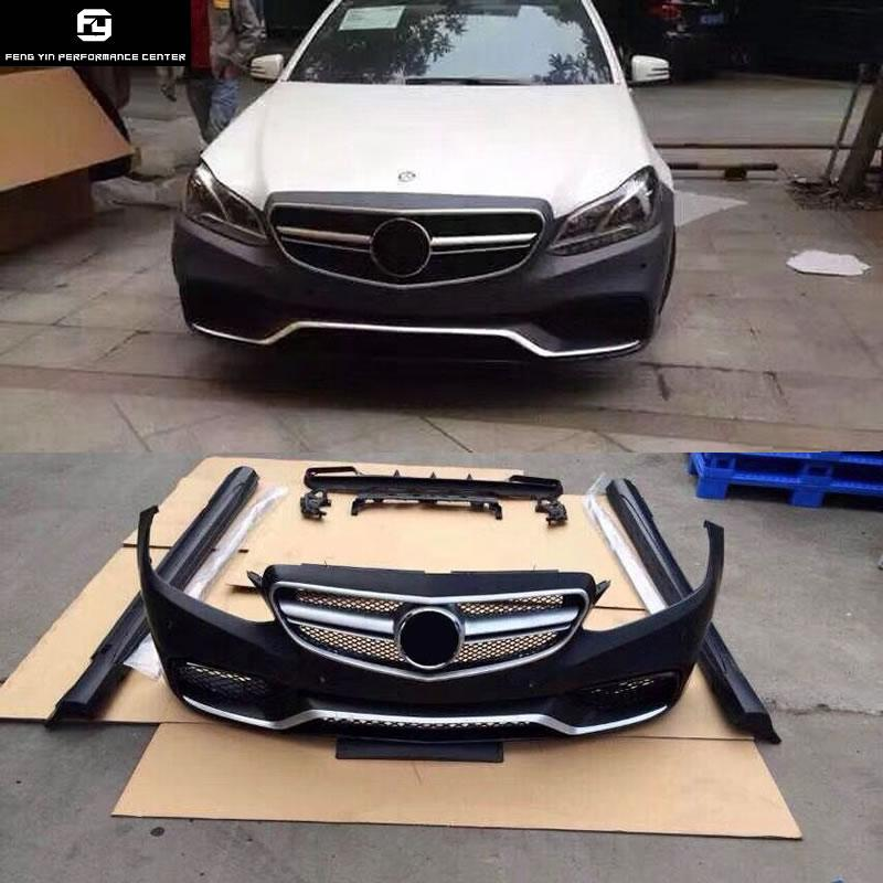 W212 E63 AMG Car body kit FRP Unpainted front bumper rear diffuser side  skirts for Mercedes Benz W212 E300 AMG style 14-16