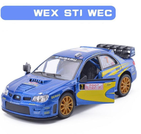 High Simulation Subaru WRX STI WRC Racing  1: 36 Scale Alloy Pull Back Car Model Toy  2 Open Door Toy Vehicle  Free Shipping