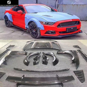 Carbon fiber FRP Wide Car body kit front bumper lip Rear diffuser spoiler engine hood for Ford Mustang KylinTotem style 15-17
