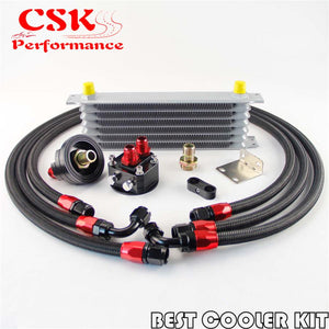7 Row AN-8 Engine Trust Oil cooler + 8AN Filter Relocation Nylon Steel hose kit
