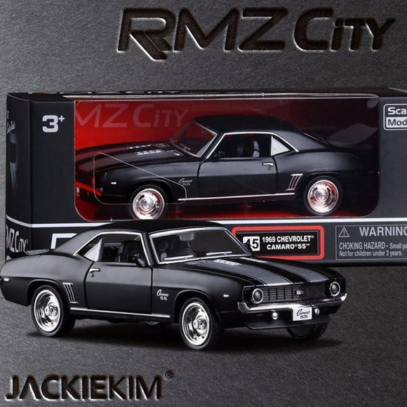Brand New 1/36 Scale USA 1969 Chevrolet Camaro SS Vintage Matte Black Diecast Metal Car Model Toy For Collection Gift Kids