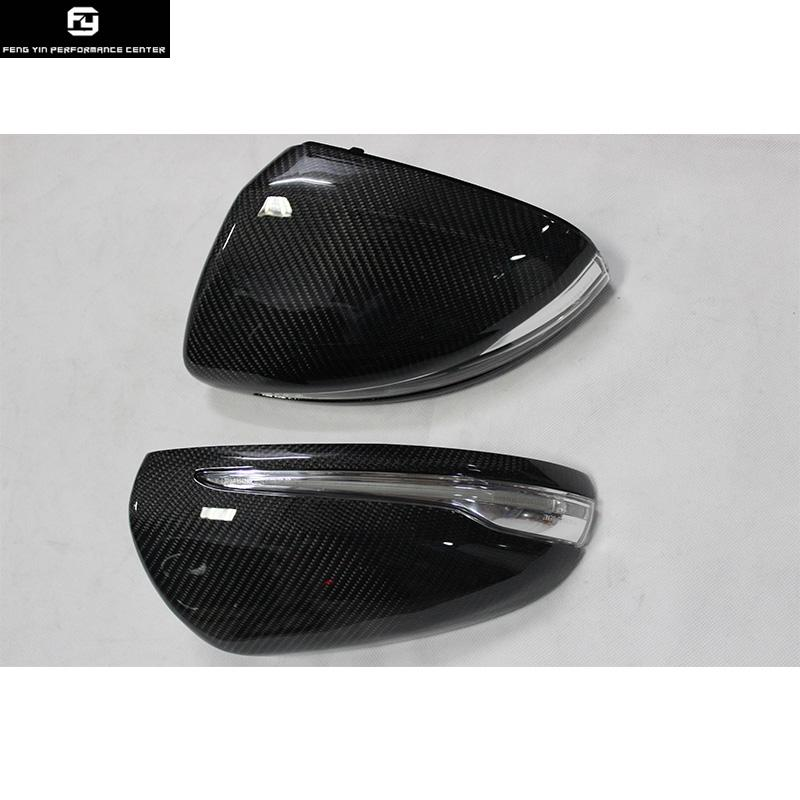 W205 Replacement Carbon Fiber Side Mirror Covers Mask with lights for  Mercedes Benz W205 C300