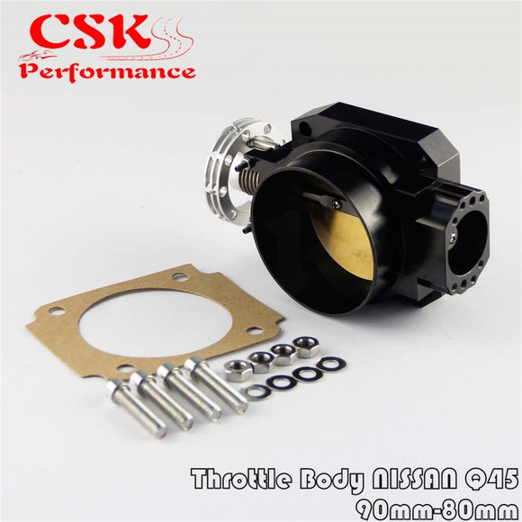 Universal Throttle Body Intake Q45 90MM - 80MM  FOR NISSAN RB25DET RB26DET RB20 GTS BK