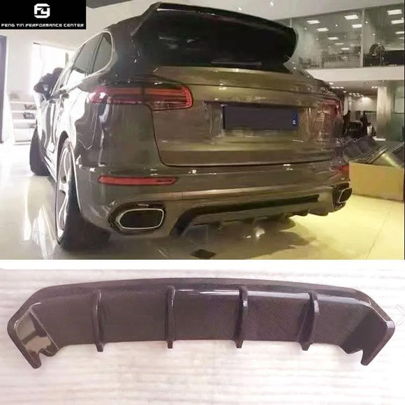 958 Carbon Fiber Rear Bumper Lip rear Diffuser For Porsche Cayenne 958 2016