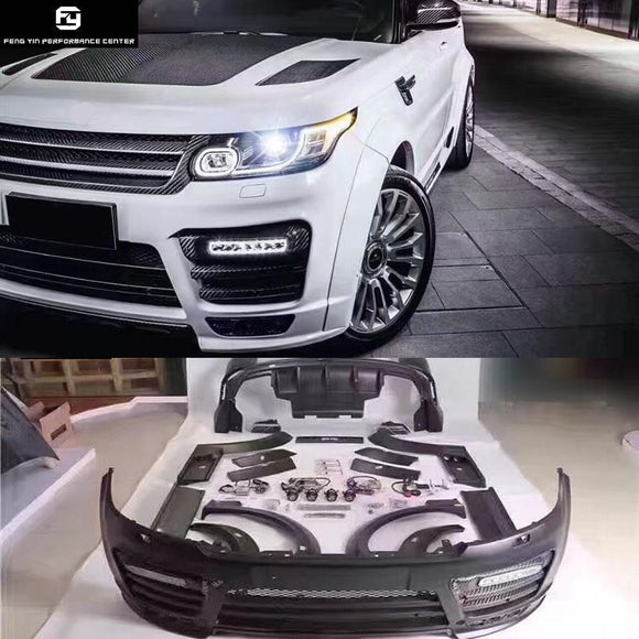 Wide Car body kit Carbon fiber FRP Unpainted front bumper rear bumper side skirts for Range Rover Sport Mansory style 14-17