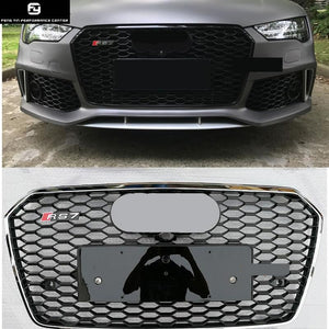All black A7 RS7 style Racing Grills Chrome frame ABS car front grille for Audi A7 RS7 front bumper 2016