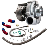 T3/T4 T04E .57 A/R Performance Turbocharger +Oil Feed & Return Line Kit 300+HP Oil Cooled Turbo for 1.6-2.5L  internal wastegate