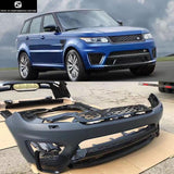 SVR style PP Unpainted front bumper rear bumper side skirts Round eyebrows for Range Rover Sport Car body kit 14-17