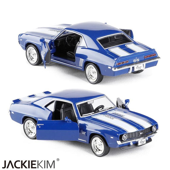 High Quality 1:36 Chevrolet Camaro SS 1969 Emulation Alloy Vintage Car Model With Pull Back For Kids Toy Collection Free Shpping