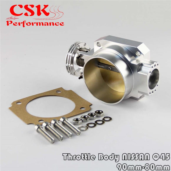 Universal Throttle Body Intake Q45 90mm - 80mm  For Nissan Rb25Det Rb26Det Rb20 GTs Silver